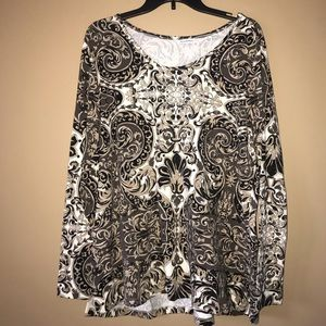 Brown Paisley Paterned Blouse